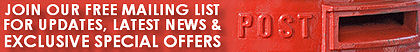 Join our mailing list for special offers